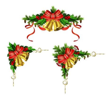 Christmas decoration set with evergreen treess holly and pinecones and bow isolated 向量圖像