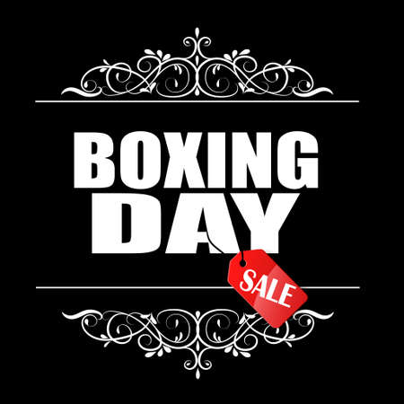 Boxing Day sale banner with swirls in frame and hanging tag Illustration