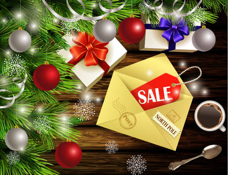 Boxing Day design light wooden background with christmas tree and silver and red balls and envelope with sale tag coffee teaspoon gift boxes Illusztráció