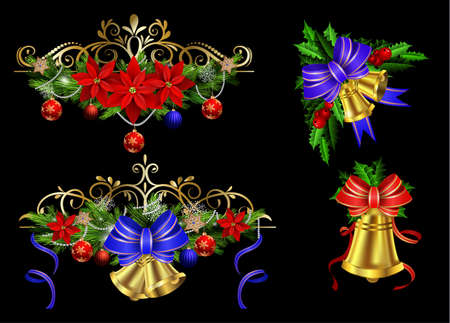 Christmas decoration set with evergreen treess holly and pinecone and poinsettia and ribbon isolated with bells