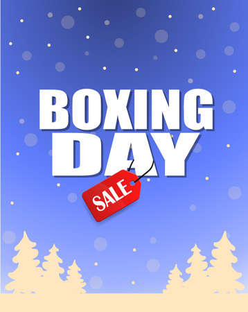 boxing day: Vintage vector Boxing Day with red Sale tag hanging with typography design and trees