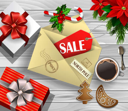 boxing day: Boxing Day design light wooden background with christmas tree and poinsettia and envelope with sale tag gift boxes