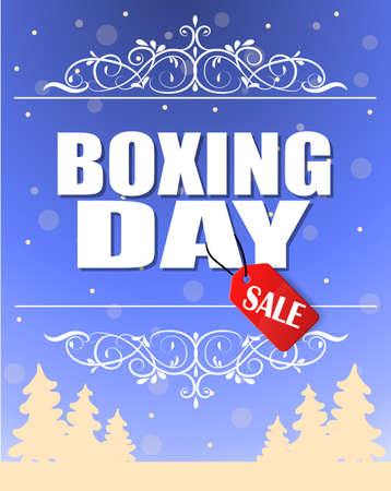 Vintage vector Boxing Day with red Sale tag hanging with typography design swirl frame and trees