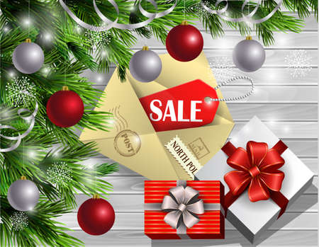 Boxing Day design light wooden background with christmas tree and silver and red balls and envelope with sale tag gift boxes