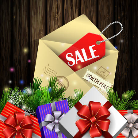 boxing day: Boxing day background with gift boxes and christmas tree brunches on wooden background with elvelope and sale tag. Vector.