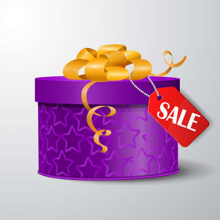 boxing day: Vector gift box illustration isolated on white background with hanging sale tag Boxing day
