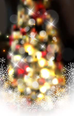 Christmas tree light background. Vector on dark with snow