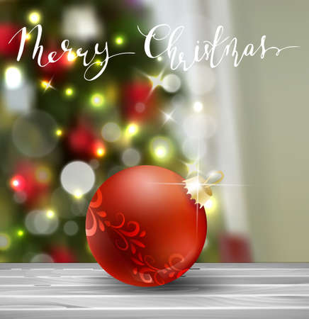 Background with Christmas ball on blur Christmas tree background greeting card