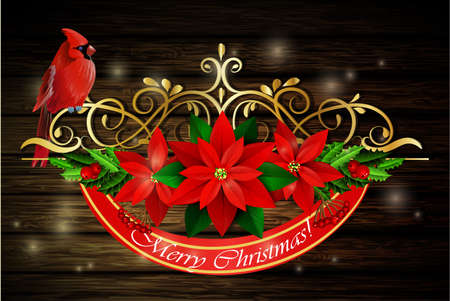metalic: Christmas decoration with evergreen treess holly and poinsettia isolated on wooden backround with swirls and cardinal bird Illustration