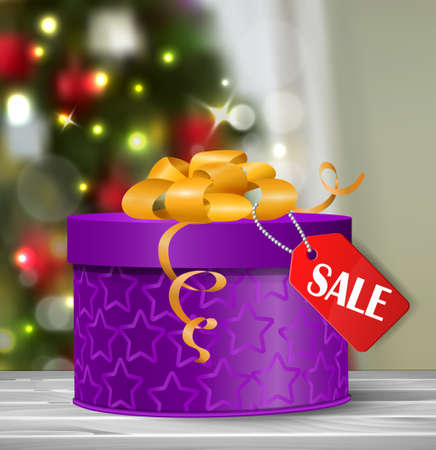 boxing day: Vector gift box illustration isolated on white background with hanging sale tag Boxing day on Christmas tree background bokeh Illustration