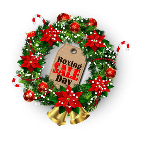 boxing day: Boxing day sale tag in a Christmas wreath and bow and bells isolated on white background with poinsettia
