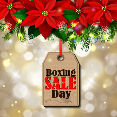 Boxing day sale tag with evergreen trees with poinsettia christmas lights isolated on bokeh background Ilustrace