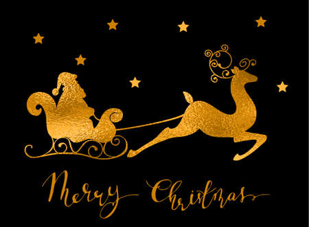 Christmas purple foil reindeer and santa slade silhouette with snow and handwritten Merry Christmas New year greeting card. Vector. 向量圖像