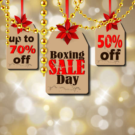 Boxing day sale tags with poinsettia christmas lights isolated on bokeh background golden beads Ilustrace