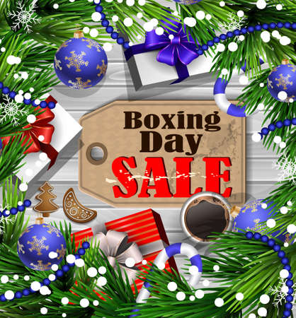 Boxing day sale tag with evergreen trees with christmas gifts and candy canes on wooden wall and cup of coffee Ilustrace