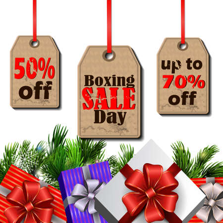 boxing day: Boxing day sale tags with evergreen trees with christmas gifts isolated on white