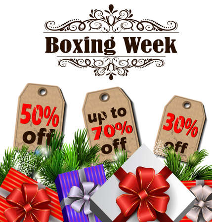 Boxing week sale tags with evergreen trees with christmas gifts isolated on white