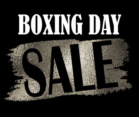 tear off: Boxing day sale banner with on black with foil