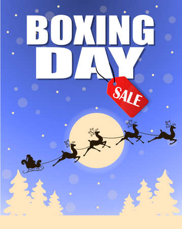 boxing day: Vintage vector Boxing Day with red Sale tag hanging with typography design and trees moon and Santa slade