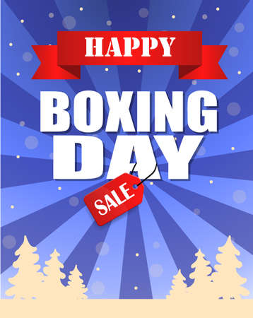 Vintage vector happy Boxing Day with red Sale tag hanging with typography design and trees 向量圖像