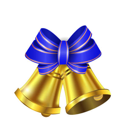 stipes: Vector Gold Christmas bells with a bow and stipes Illustration