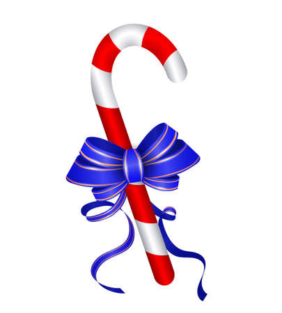 Christmas candy cane with blue bow isolated on white background Zdjęcie Seryjne - 67523376