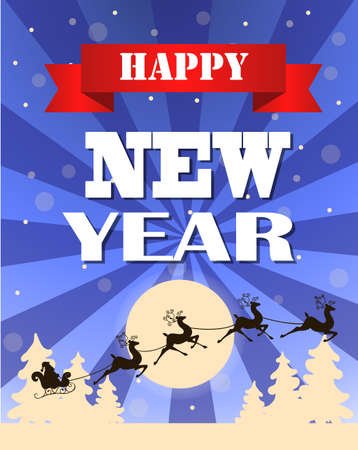 Vintage vector New years card with typography design and trees