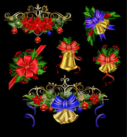 Christmas decoration set with evergreen treess holly and pinecones and bow isolated Illustration