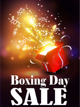 boxing day: Boxing day background with open red box with stars and confetti and fireworks
