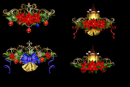 Christmas decoration set with evergreen treess holly and pinecones and bow street light isolated vector