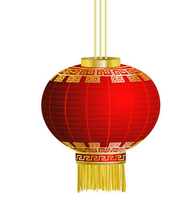 Red Chinese traditional paper lantern. Isolated on white background. vector
