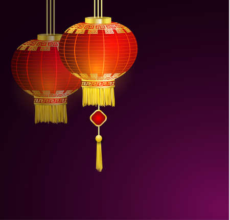 Red Chinese traditional paper lanterns. Isolated dark background. vector Illustration