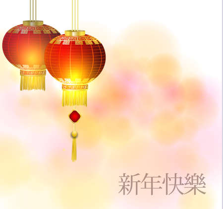 Red Chinese traditional paper lantern. Isolated on light background. vector New year