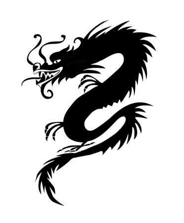 Black paper cut out of a Dragon china