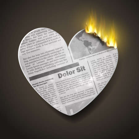old newspaper: burning newspaper heart