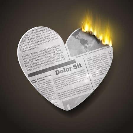 burning newspaper heart