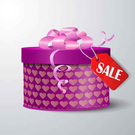 red gift box: Valentine red gift box with heart shapes