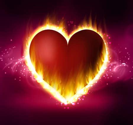 Flame heart on the dark Illustration