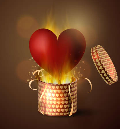 Box With Heart in retro style Illustration