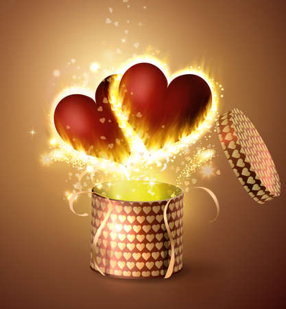 marrying: Box With Heart in retro style Illustration