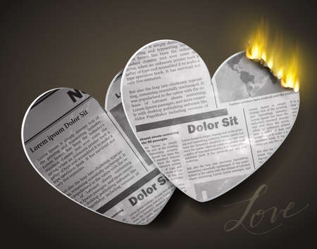 two burning newspaper heart