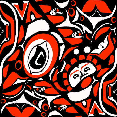 abstract red background native north american Illustration