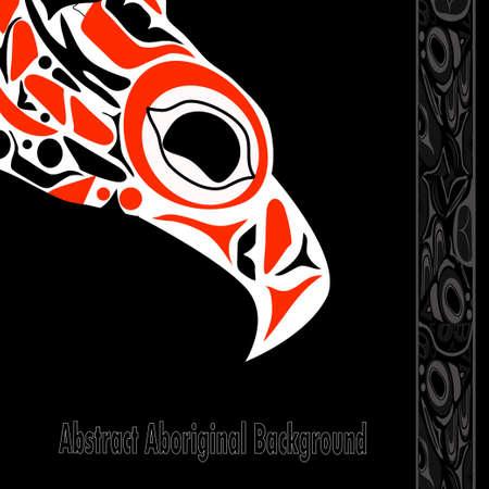 first nations: totem bird indigenous art stylization Illustration