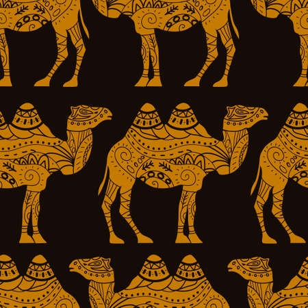 Seamless vector pattern with caravan camels Illustration
