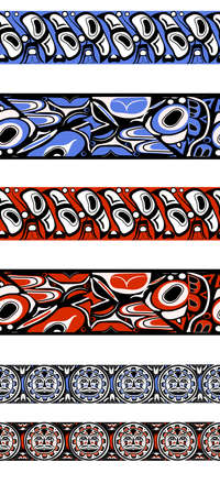Big set abstract red background native american