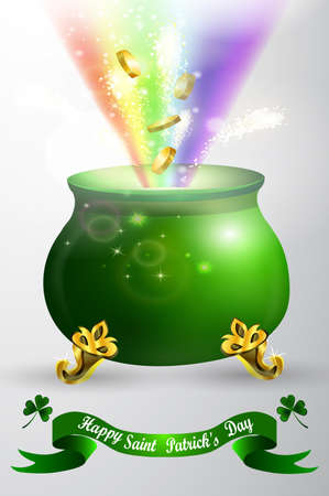 patrick's: St Patricks day green pot with rainbow Illustration