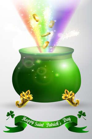 St Patricks day green pot with rainbow Illustration