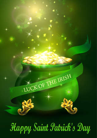 St. Patrick s Day symbol green pot full of gold coins and fireworks and ribbon Vector illustration