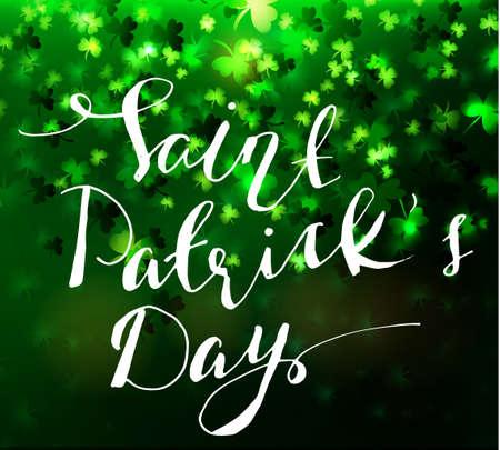 Illustration of saint Patricks day seventeenth march green handwritten lettering vector