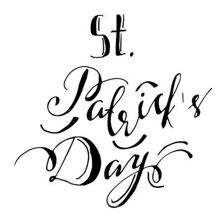 irish pub label design: hand lettering saint patricks day Illustration